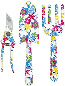 Southern Homewares Floral Design Gardening Tools, Set of 3 Clippers, Trowel, and Weeding Fork