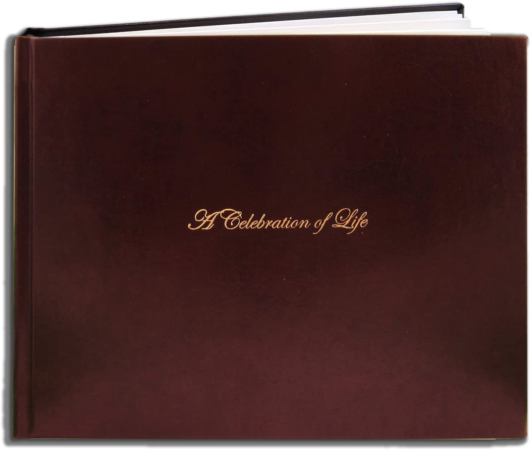 """BookFactory Leather Funeral Guest Book""""A Celebration of Life"""" / Memorial Book/Memorial Guest Books (48 Pages - 8 7/8"""" x 7"""") Burgundy Leather, Smyth Sewn Hardbound (LOG-048-97CS-XM (Funeral-REG))"""