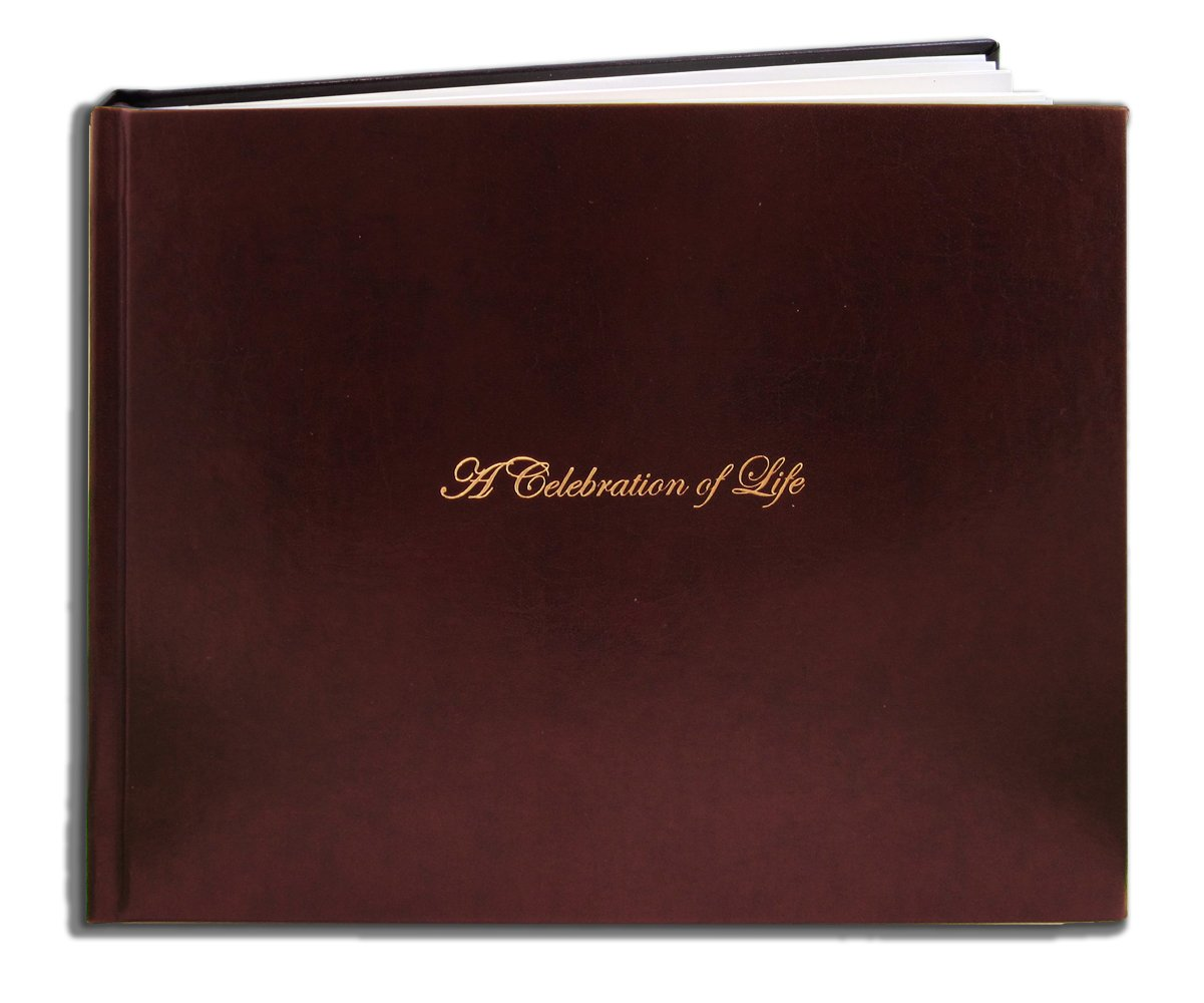 BookFactory Leather Funeral Guest Book A Celebration of Life/Memorial Book/Memorial Guest Books (48 Pages - 8 7/8'' x 7'') Burgundy Leather, Smyth Sewn Hardbound (LOG-048-97CS-XM (FUNERAL-REG))