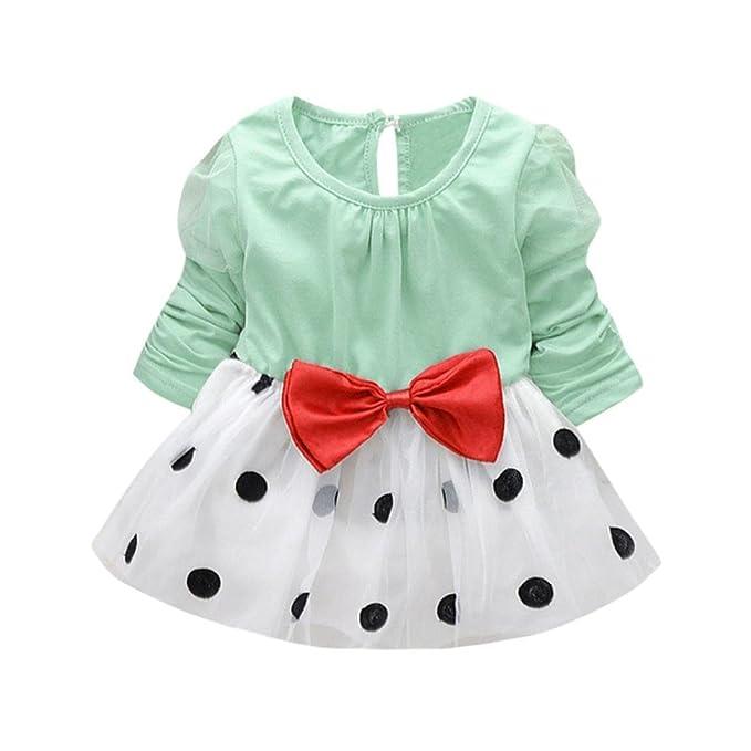 Yannerr Vestido para bebé niña, Recien Nacido Punto Bowknot Doblar ...