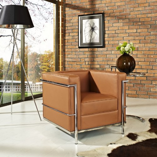 Modway Charles Leather Petite Armchair in Tan