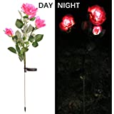 a7a8f11793ef1 Solar Flower Lights for Outdoor Deorative with 3 Pink Rose Flowers  Christmas Decoration 1 Pack for