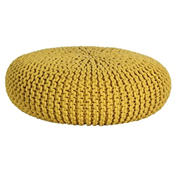Homescapes Yellow Knitted Pouffe Footstool Occasional Seat Bean Best Yellow Knit Pouf