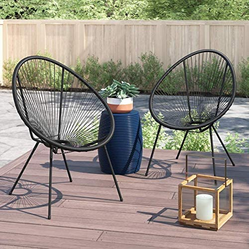 century modern outdoor all weather wicker indoor outdoor round lounge chair set of 2 cm 0102 grey