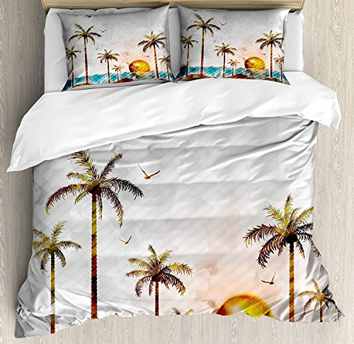 (Anzona Queen Size Island 3 PCS Duvet Cover Set, Tropical Landscape in Watercolor Style Palm Trees Ocean Waves Sunset Beach Picture, Bedding Set Bedspread for Children/Teens/Adults/Kids,)