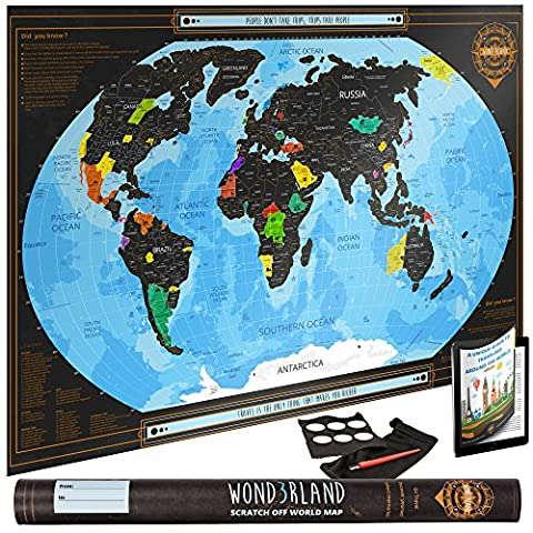 Scratch Off World Map with outlined US States - Deluxe Large Wall Poster - Detailed Travel Tracker - Perfect Gift for Travelers -BONUS Adhesive Stickers + Scratching Tool + Wiping Cloth + Unique - Detail Map