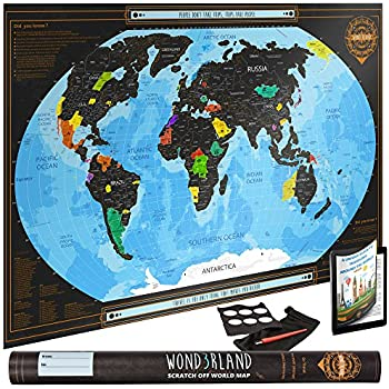 Amazoncom MyMap Deluxe Gold Black World Scratch Off Map W - Map of the us staes