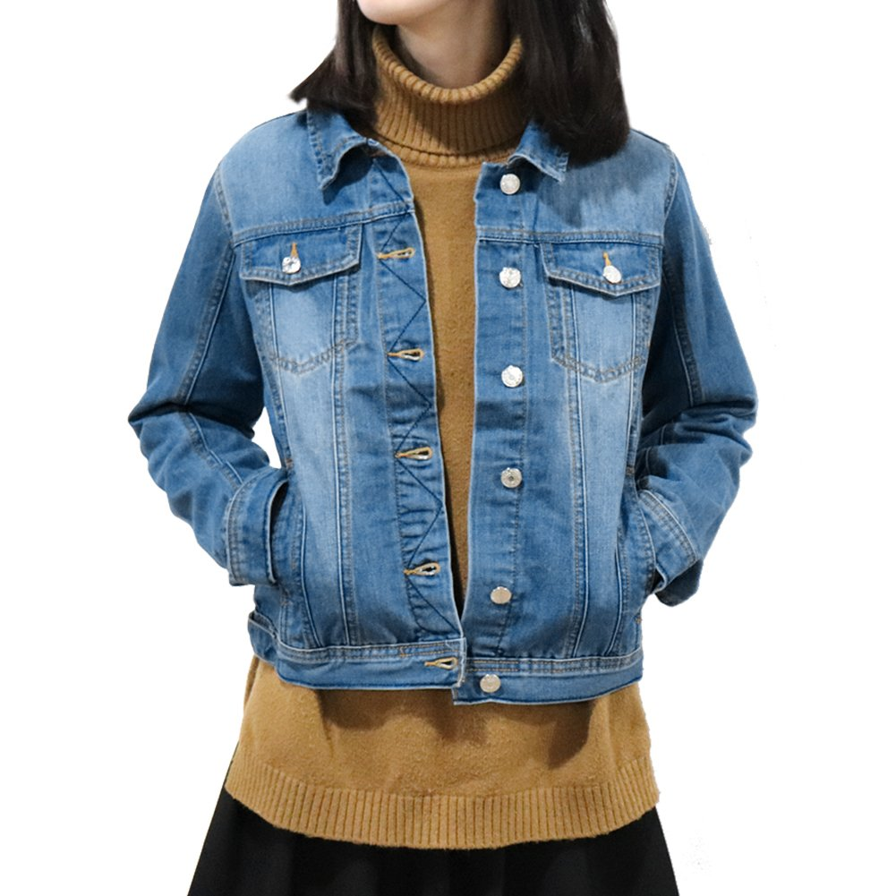 SHAREWIN Slim Women Blue Washed Pocket Button Boyfriend Denim Jacket Coat Jean Jackets Lrg