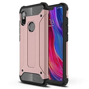 HUUH Funda Xiaomi Redmi Note 6/Xiaomi Redmi Note 6 Pro Carcasa Caja de teléfono móvil, combinación TPU + PC, Hermosa Mano de Obra(Rosado)