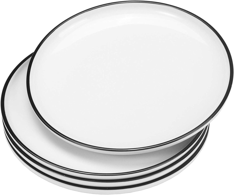 "White Dinner Plates Set of 12 Classic Porcelain Dinnerware 10.5/"" Round Kitchen"