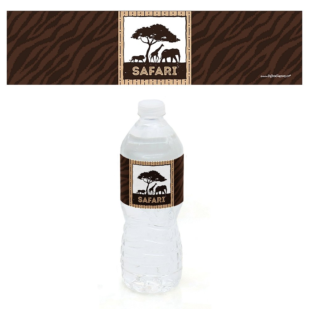 African Jungle Adventure Birthday Party or Baby Shower Water Bottle Sticker Labels Wild Safari Set of 10