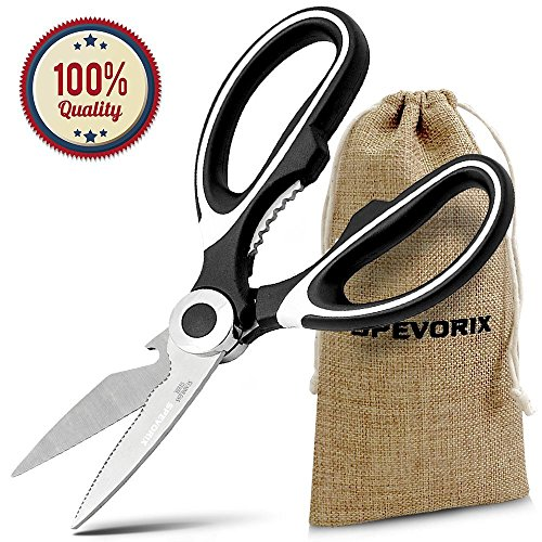Heavy Duty Kitchen Shears Utility Scissors Nut Cracker Multipurpose Ultra Sharp Scissors with Cover for Chicken Poultry Fish Meat Vegetables and BBQ