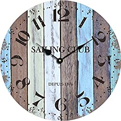 Grazing 12 Arabic Numerals,Vintage Rustic Shabby Chic Style,Blue and Brown Multi Bars,Wooden Round Home Decoration Wall Clock(Blue Ocean)