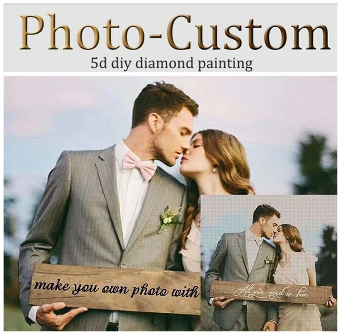 OneHippo 5D DIY Diamond Painting Private Customized Photo Custom Personalized Full Drill Diamond Rhinestone Embroidery with Round/Square Beads for Decoration Gifts