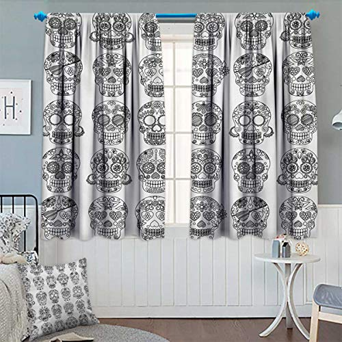 Chaneyhouse Mexican Window Curtain Drape Latin American Day of The Dead Skull Designs with Floral Inspirations Celebration Decorative Curtains for Living Room 55