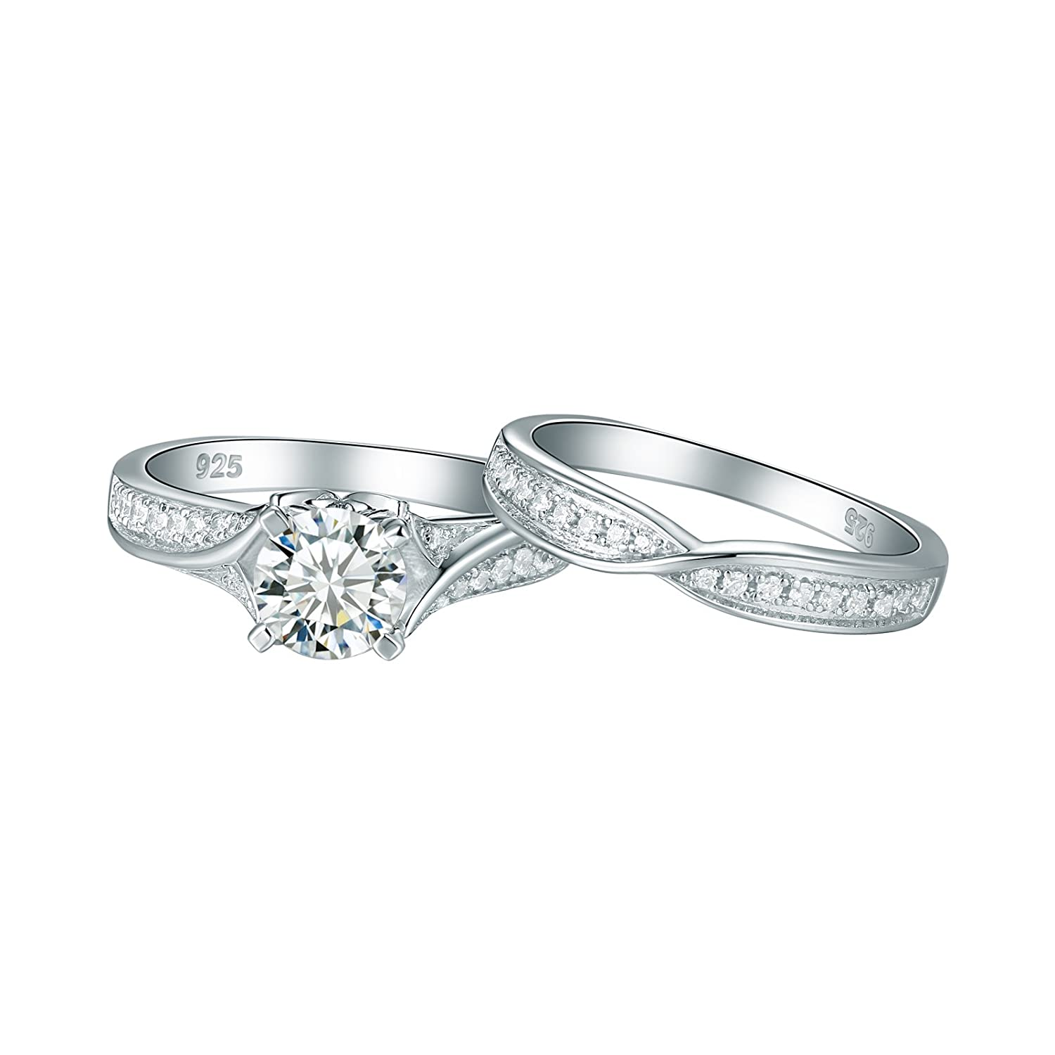 Newshe 1.4ct Round White AAA Cz 925 Sterling Silver Engagement Wedding Ring Set for Woman Size 5-10 Newshe Jewellery JR4825/_SS