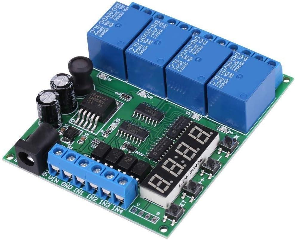 DXX-HR Tiempo de retardo del módulo, 3 modos Módulo interruptor de funcionamiento del temporizador de retransmisión DC 6.5-25V DC 5V Tensión de funcionamiento de 4 canales de tiempo de múltiples funci