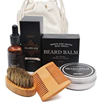 Genkent Beard Grooming & Trimming Kit for Men Care - Beard Brush, Beard Comb, Unscented Beard Oil Leave-in Conditioner, Mustache & Beard Balm Butter Wax