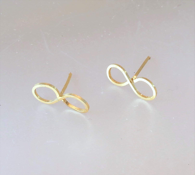 14 Kt Gold Plated Infinity Stud Earrings - Minimalist