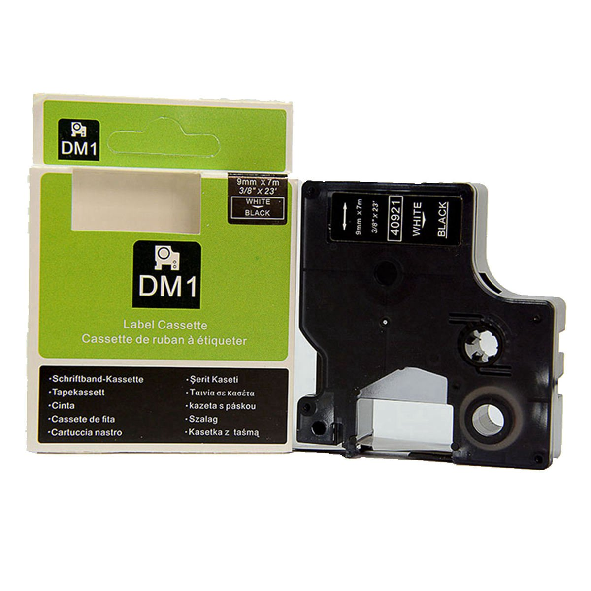 Amazon.com: Hartwii White on Black Label Cassette Compatible for DYMOD1 40921 Label Tape 9mm 7m (3/8 x 23