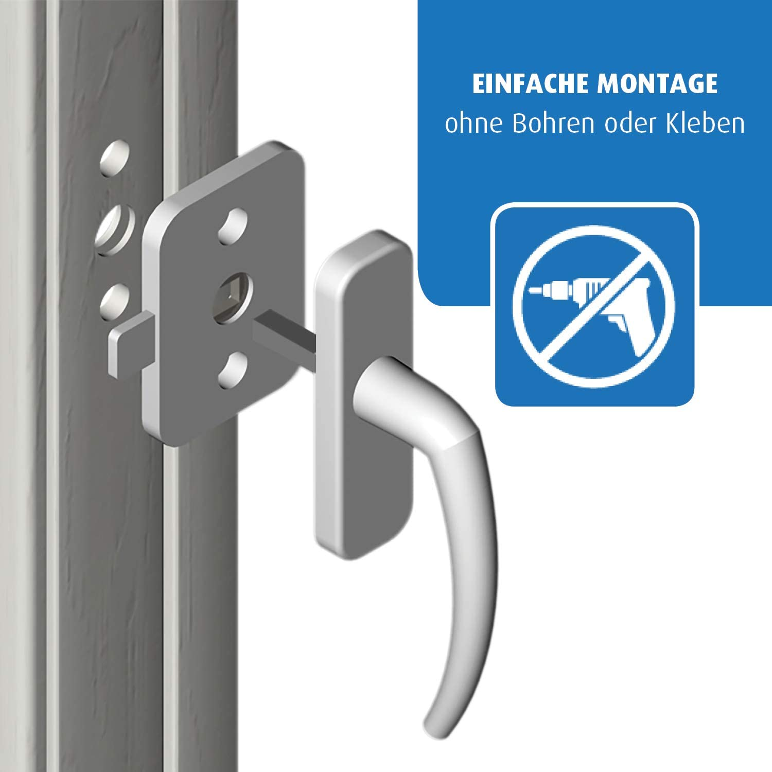REER Childrens Safety Catch Lock for Balcony Doors//Windows White
