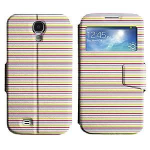 Be-Star Diseño Impreso Colorido Slim Casa Carcasa Funda Case PU Cuero - Stand Function para Samsung Galaxy S4 IV / i9500 / i9505 / i9505G / SGH-i337 ( Horizontal Lines )