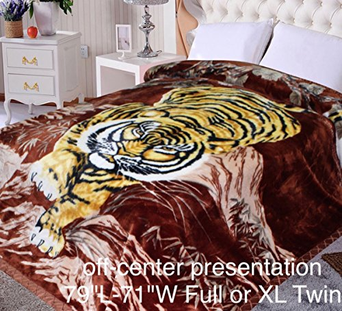 "Tiger Animal Blanket,79""Hx71""W, Throw, ultra plush Korean..."
