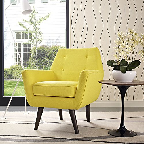 Modway Posit Mid-Century Modern Fabric Upholstered Accent Lounge Arm Chair In Sunny