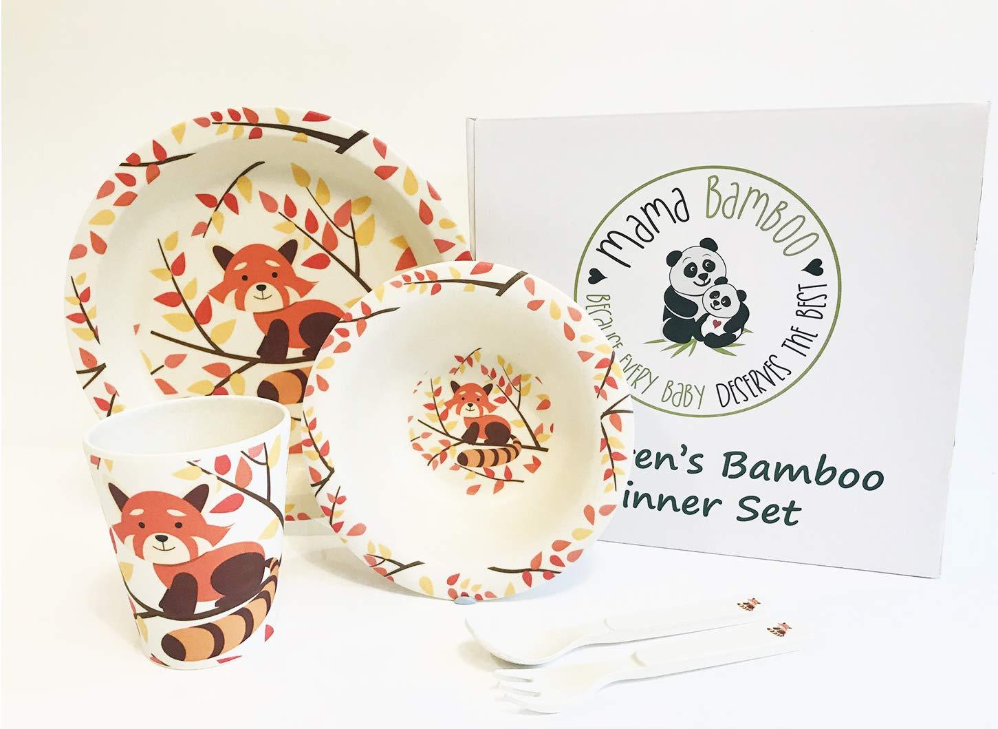 Ponya The Red Panda ENVU Cubs Club Vajilla infantil de bamb/ú