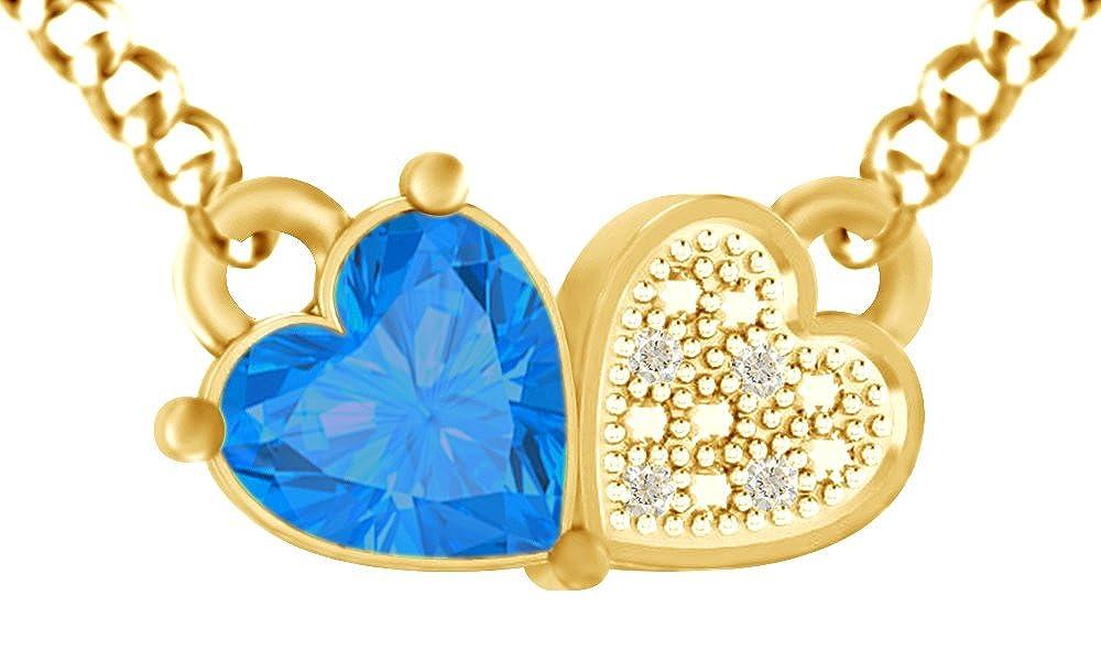 AFFY Halskette mit Herz-Anhänger aus 925er Sterlingsilber, künstlicher Blautopas und weißer Zirkonia, für Damen und Mädchen (18 Karat Gelbgold)