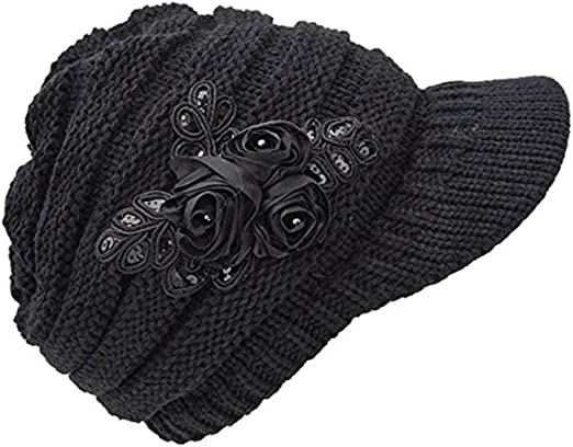 New Women/'s Cable Knit Visor winter Hat with Flower Accent gray Color USA Seller