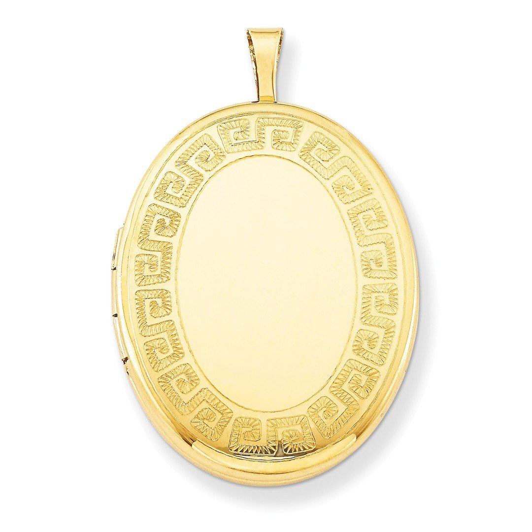 1/20 Gold Filled 26mm Greek Key Border Oval Photo Pendant Charm Locket Chain Necklace That Holds Pictures W/chain Fashion Jewelry For Women Gift Set ICE CARATS IceCarats 3352890682728038127