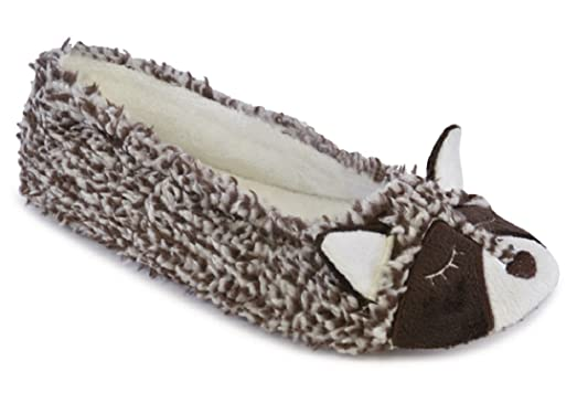 Ladies Warm Lined Novelty Raccoon Ballet Slippers