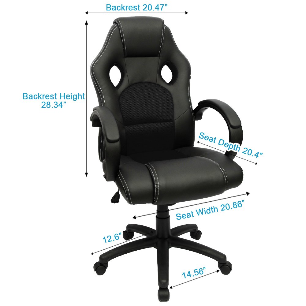 Medium back office chair - Amazon Com Furmax Office Chair High Back Pu Leather Computer Chair Ergonomic Racing Chair Desk Chair Swivel Executive Gaming Chair Headrest And Lumbar
