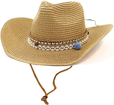 Womens Woven Straw Cowboy Hat w//Beaded Trim Band Hat Beach Holiday Sun Hats