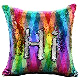 "Reversible Sequin Pillow Case Decorative Mermaid Pillow Cover Color Changing Cushion Throw Pillowcase 16"" x 16"",Rainbow and Silver"