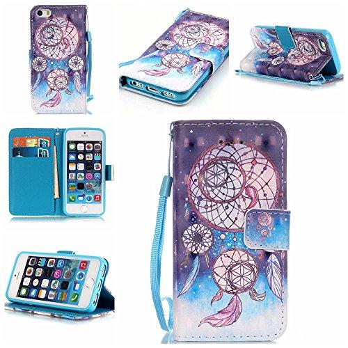 ZXLZKQ pour iPhone 5 / 5S / SE Étui Dreamcatcher De Plumes Polka Dot PU Cuir 3D Bling Flip Portefeuille Magnétique Lanyard Case Housse Coque pour Apple iPhone 5 / 5S / SE (non applicable iPhone 5C)