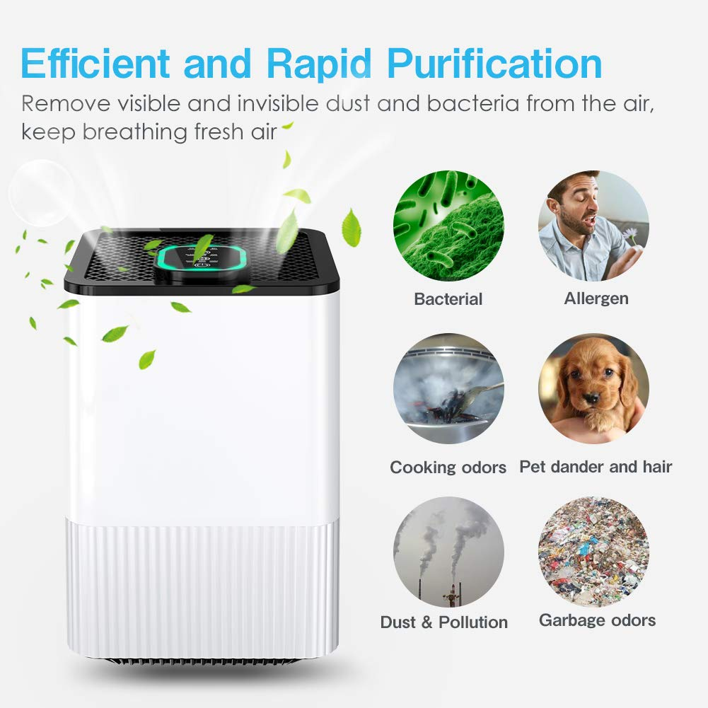 HAUEA Air Purifier with True HEPA Filter, Home Air Cleaner with Air Quality Indicator and Timer