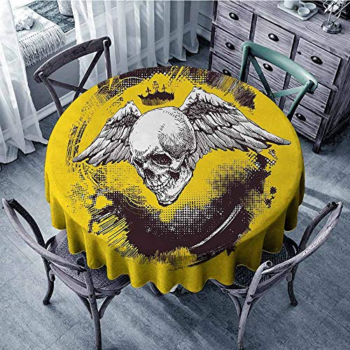 ScottDecor Overlay Round Tablecloth Tattoo,The Death Angel Crowned Skull Drawing with Wide Magnificent Feather Wings,Yellow Back and White Christmas Tablecloth Diameter 54