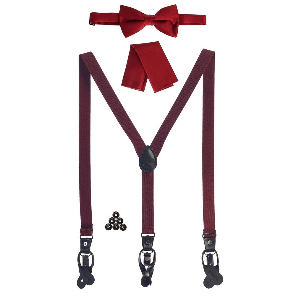 Gioberti Boys Burgundy Convertible Suspenders Bow Tie Buttons and Hanky Set