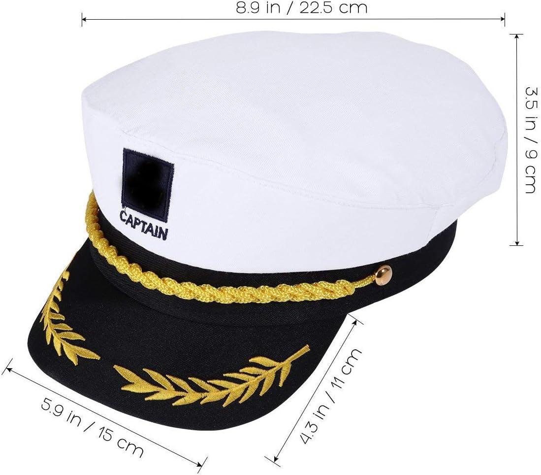 Bianco WENTS Capitano Cappello Costume Party e Carnevale Giocattolo Adulto Costume Capitano Yacht Barca Nave Marinaio Cappello ammiraglio della Marina Marine