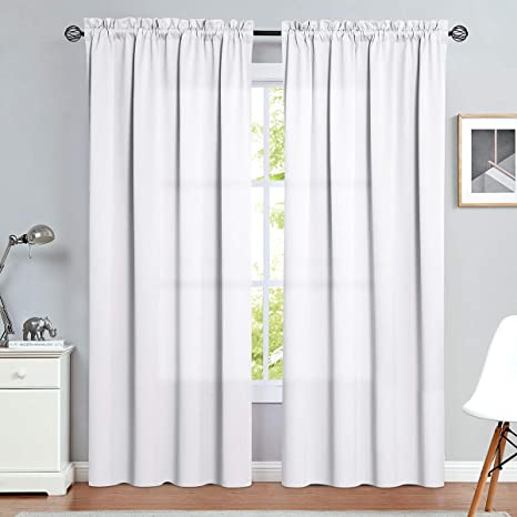 Amazon Com Vangao Rod Pocket Curtains White 84 Inches Long Drapes For Living Room Window Treatment For Bedroom Triple Weave 2 Panels Kitchen Dining