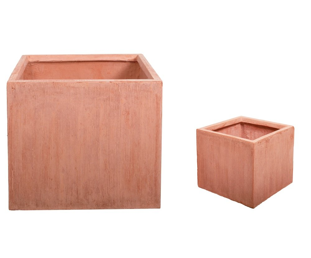 22 Litre Textured Terracotta Fibrecotta Cube Medium 30cm