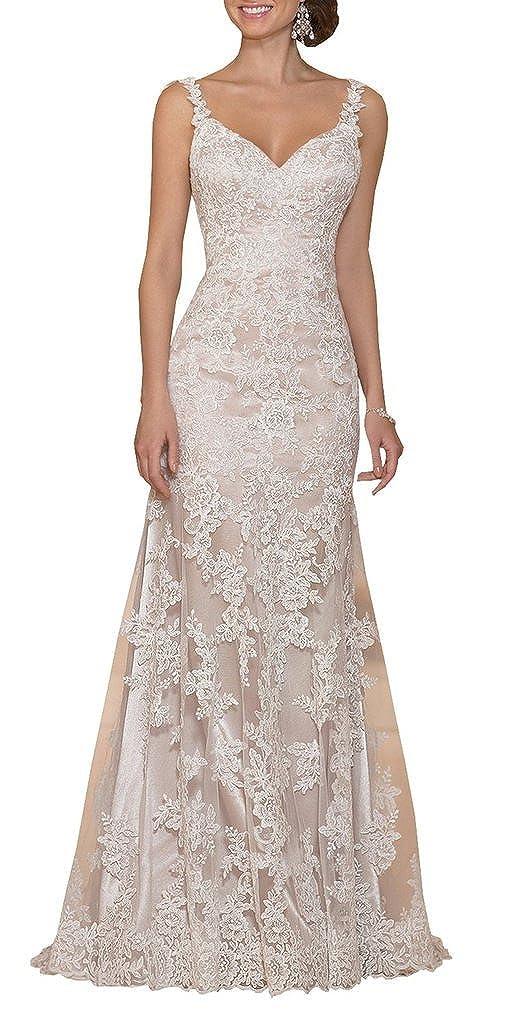 YIPEISHA V-Neckline Cap-Sleeve Lace Mermaid Court Wedding Dresses ...