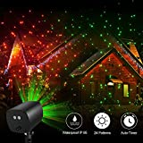 TEC.BEAN 24 Patterns Christmas Landscape Lights, Galaxy Star Projector Lights Auto Timer Outdoor Rotating Waterproof Light for Halloween Christmas Decoration Stage Light Party Holiday(Red-Green)