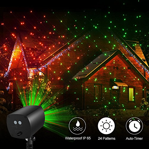 TEC.BEAN 24 Patterns Christmas Landscape Lights, Galaxy Star Projector Lights Auto Timer Outdoor Rotating Waterproof Light for Halloween Christmas Decoration Stage Light Party Holiday(Red-Green) -