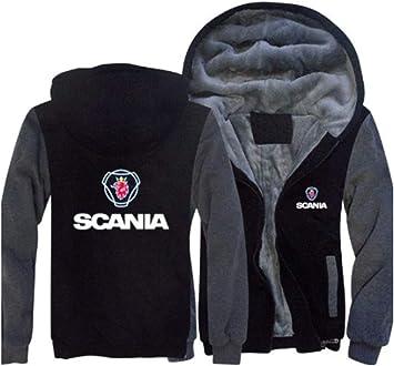 冬に適しメンズパーカーフルジップベルベットSCANIA印刷太いフード付きセーターコートフリースパーカー、
