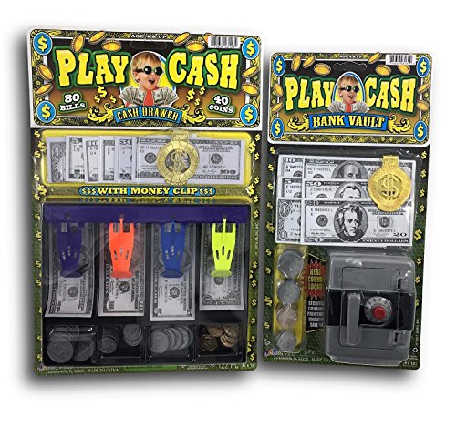 Play Money/Cash/Dinero/Bills and Coins Bundle Combo. Includes Bank Vault with real combo lock and a cash drawer. Great birthday party favors. Educational play money. B18