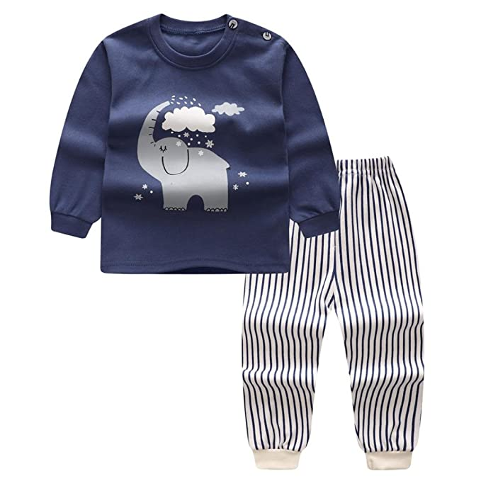 Yannerr 2PCS Bebé niña niño Dibujos Elefante estampado Inferior camiseta  tops+pantalones Conjunto 1cafe8d28c8