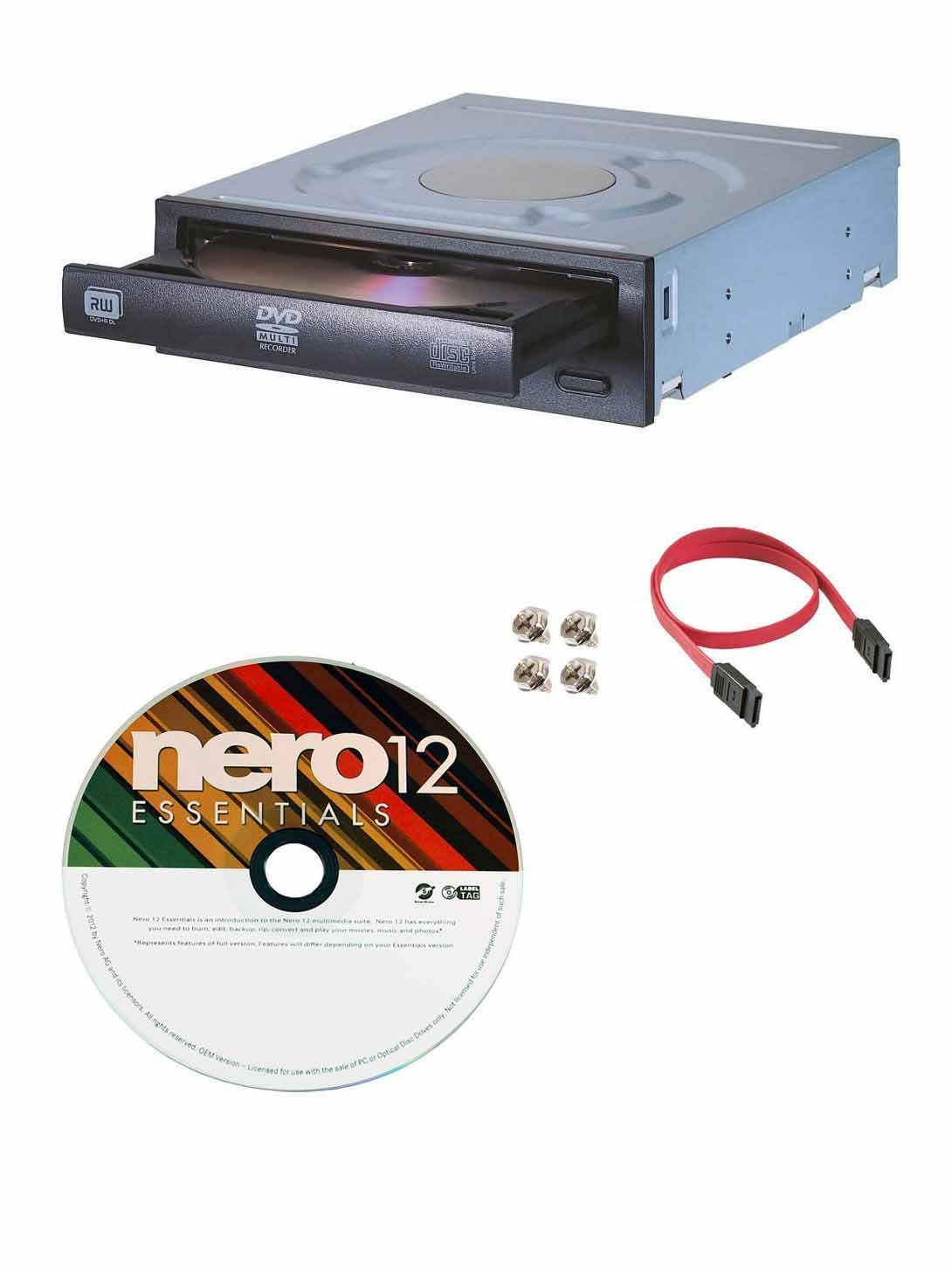 Lite-On 24x iHAS124 Internal DVD Writer Bundle with Nero Burning Software and Cable Accessories (SATA Optical Drive)